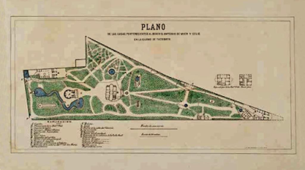 PLANO DE CONJUNTO FINCA PROPIEDAD DE LOS MIER EN TACUBAYA, 1880, Museo Nacional de Cartografía